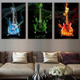 Wholesale Music Canvas Pictures - 3pcs set No Frame Colorful Gitar Music Wall Art Oil Painting On Canvas Life Paintings Picture for Home Decoration
