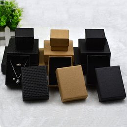 Wholesale Necklace Wood Gift Boxes Wholesale - XS Hot Black & Brown 4 Style Craft Paper Ring & Necklace & Bracelet Jewelry Packaging Gift Box Wholesale