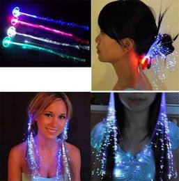 Wholesale Led Lights For Hair - Luminous Light Up LED Hair Extension Flash Braid Party girl Hair Glow by fiber optic For Party Christmas Halloween Night Lights Decoration