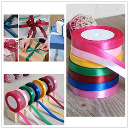 Wholesale Wedding Party Craft Satin Ribbon - Wholesale- 25Yards Roll 25mm Width Colorful Silk Satin Ribbon Wedding Party Decoration Gift Craft Sewing Fabric Ribbon Cloth Tape DIY-6z