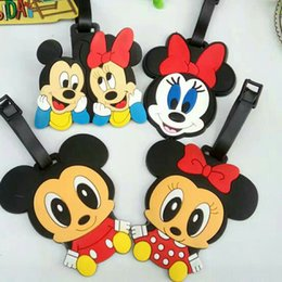Wholesale Pvc Labels Wholesale - New PVC Mickey Minnie Mouse Luggage ID Tags Labels Travel Boarding Adress ID Card Case Bag Collectibles Keychain Key Rings Toys Gifts PX-T23