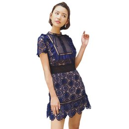 Wholesale Vintage Fishing Line - 2017 Runway Designer Dresses Women High Quality Embroidery Lace Up Fish Net Hollow Out Mini Party Dress Sukienka Vestidos Cortos
