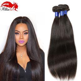 Wholesale Human Hair Wholesale Companies - 8A Malaysian Virgin Hair Straight 4pcs Lot Hannah Hair Company Malaysian Unprocessed Human Remy Hair Bundles 1B#
