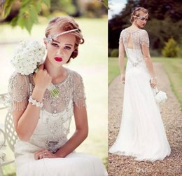 Wholesale Jenny Packham Crystal Wedding Dress - Vintage Great Gatsby Sparkly Crystal Beach Wedding Dresses 2017 Jenny Packham Cap Sleeve Country Open Back Bridal Wedding Gowns