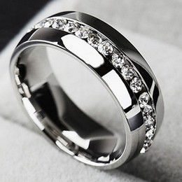 Wholesale Cz Rings Bands - I pc New Single row zircon CZ ring Stainless Steel finger rings women jewelry wholesale classical