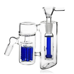 Wholesale Glass Ash - REANICE Accessories Glass Bong parts 14.5mm joint Bong Head Filter water Pipe bubbler ash catcher with Double filter Bule Luxury Experience