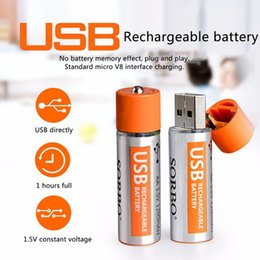 Wholesale Digital Camera Batteries Rechargeable Aa - Quality Rechargeable Batteries 4 Pcs 1.5V 1200mAh USB AA AAA Rechargeable Li-Batteries for digital cameras flashlights mouse keyboards