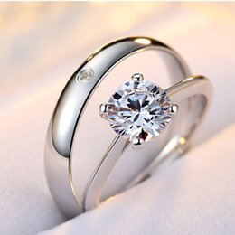 Wholesale Cz Adjustable Ring - Lovers Jewelry Hotsale High Polished White Gold Plated AAA Sparky Ckear CZ Adjustable Open Rings for Men Women Engagement Ring HZS-026