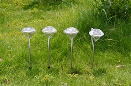 Wholesale Stainless Steel Solar Path - 6pcs Stainless Steel Solar Power Diamond Led Stake Lights Landscape Outdoor Garden Path Lawn Courtyard Decoration Path Lawn Lamp