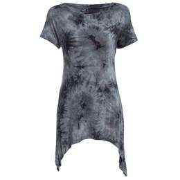 Wholesale Ombre Short Dress - Wholesale- 2016 Summer Casual Tops Tees Ladies Short Sleeve T Shirt Women Ombre Asymmetric Long T-Shirt Dress Cotton Female Clothes