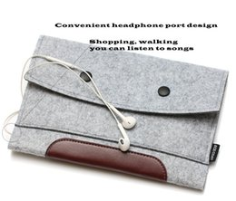 Wholesale Wool Ipad - High Quality Simple Style Wool Felt & Crazy horse leather sleeve Case For ipad air 2 bags For ipad pro 9.7 inch Tablet