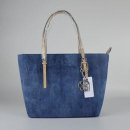 Wholesale Jean Shoulder Bags - Free Shippiing - good quality women new 2017 solid color blue jean letter shoulder bag handbag