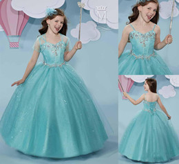 Wholesale Dress Ups Kids - Cute Cheap Flower Girls Pageant Dress Ball Gown 2017 With Jacket Spaghetti Beaded Sequins Lace Up A Line Little Kids Wedding Party Dresses