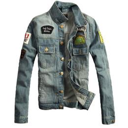 Wholesale Men Hooded Jean Jacket - Wholesale- Fashion Mens Distreesed Jean Jackets Plus Size 4XL Slim Fit Ripped Denim Jacket With Patches Male Vintage Veste Homme Patchwork