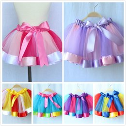 Wholesale rainbow tutu girl - 2017 new summer kids girls skirt Princess Dresses Rainbow Dress 6 color Princess Rainbow Dresses