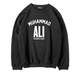 Wholesale Fleece Coolers - Mens Thick Fleece warm men muhammad ali printed o-neck sweatshirt men fashion Cotton Blend cool men hoodie