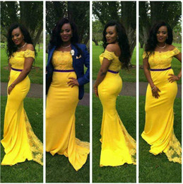 Wholesale Cheap Bright Red Sexy Dresses - New Bright Yellow Off the Shoulder Mermaid Prom Dresses 2017 Vintage Two Pieces Prom Dress Floor Length Long Cheap Evening Pageant Gowns