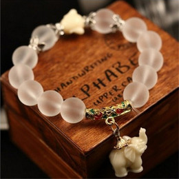 Wholesale Good Luck Bracelets For Women - Wholesale-New Fashion Natural Frosted Natural Stone Beads Elephant Buddha Bracelet for Women Bring Good Luck Birthday Gift