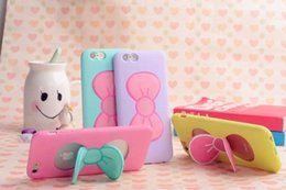 Wholesale Iphone 5s Silicon Casing - Case For iPhone 7 6S Plus Lovely 3D Bow-knot Soft Silicon Case For iPhone 6 6S 5 5S Candy Color Stand Holder Cover