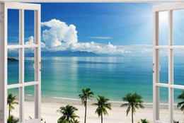 Wholesale Exotic Art - Hot 3D Window Decal Wall Sticker Home Decor Exotic Beach View Art Wallpaper Mural