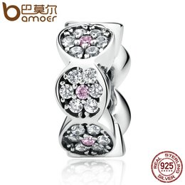Wholesale Pandora Spacers - Pandora New Arrival 925 Sterling Silver Clearly CZ Pink Silver Spacers Charms fit Bracelet Women Fashion Jewelry SCC101