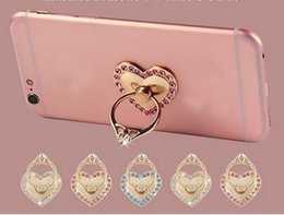 Wholesale Bling Hearts Wholesale - 360 Degree Finger Ring Heart Love Diamond Bling Rhinestone Phone Smartphone Stand Holder For iPhone X 8 7 6S Note 8 S8 Tablet Metal Ring