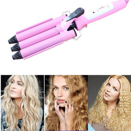 Wholesale Pink Wave Curling Iron - Professional beach wave Curling iron Tongs Pink Cone Head Ceramic triple Curling Iron Big Wave Three Barrel Hair curler ZA2056