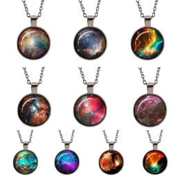 Wholesale Jewellery For Lovers - Planet galaxy Retro sweater necklace glass cabochon space universe Gun black pendant women Starry sky jewellery gifts for astronomy lover
