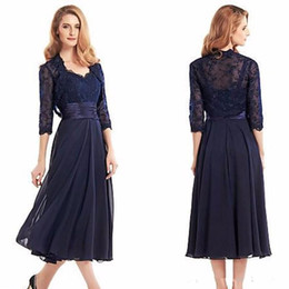Wholesale Three Quarter Jacket Pleated - 2017 Navy Blue Lace Appliqu Tea Length Mother Of The Bride Dresses with Jacket Three Quarter Sleeve Chiffon Mother Formal Evening Dress