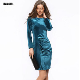 Wholesale Sexy Korean Club Dresses - 2017 Europe And The United States Foreign Trade Hot Korean Velvet Slim Long Sleeve Gold Velvet Bag Hip Dress