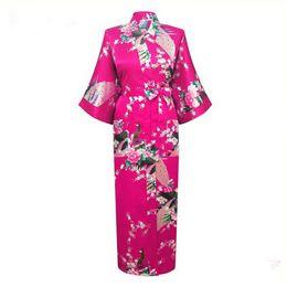 Wholesale Women S Bath Robes - Wholesale- Brand New Femmes pijama Women Silk Rayon Long Robes Kimono Bath Gown Women Sexy Nightgown Floral Sleepwear Plus Size XXXL NR065