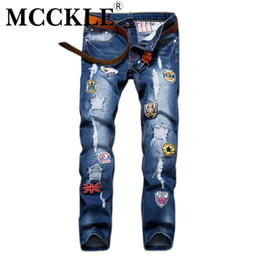 c0b660104c0df Wholesale- Slim Fit Mens Ripped Patch Jeans Pants Designer Distressed Jean  Trousers For Male Straight Blue Denim Joggers With Patches Q2627 mens  patched ...