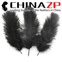 Wholesale Wholesale Feathers For Crafts - Gold Supplier CHINAZP Crafts Factory 25~30cm(10~12inch) Beautiful Natural Dyed Black Ostrich Feathers for Party Table Decorations