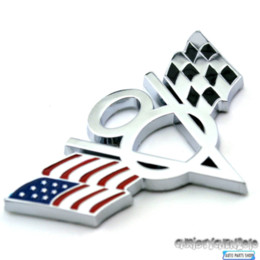 Wholesale American Flag Vinyl - New Arrival Checkered V8 USA American Flag SVT Car Stickers Badge Emblem Fender Tailgate For F**d 357 Mu**ang 357 Car Styling