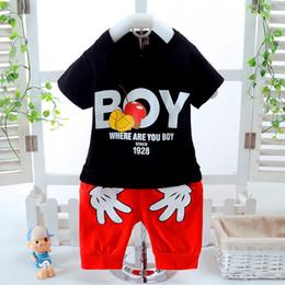 Wholesale short cute pant - 2017 New casual Summer suit Kids Clothes Children Clothing Baby Boy Clothes Set Toddler Baby Boys Clothing Set Cotton T-shirt shorts Pants