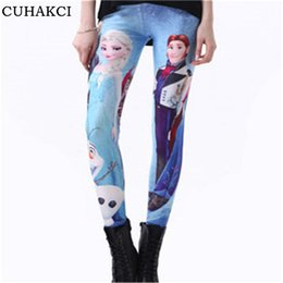 Wholesale Plus Size Snow Clothes - Wholesale- Snow Queen 3D Print Leggings Women Elsa Skinny Halloween Digital Leggin Female Clothing Autumn Elastic Milk Plus Size Hans K151