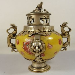 Wholesale chinese incense burner dragon - Exquisite Chinese handwork porcelain inlaid with Tibetan silver dragon monkey incense burner