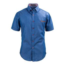 Wholesale Men S Dress Jeans - Wholesale- Men Denim Shirt Short Sleeve Fashion Men's Sim Fit Dark Jeans Shirts Cotton Dress Business Camisas Masculina European Size R464A