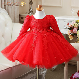 Wholesale Long Sleeve Baptism Dress Baby - Wholesale- High Quality Red White baby girls long sleeve 1 year old birthday dress sequin baptism christening wedding dress for infant