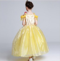 Wholesale 4t Girls Costume - Girls Princess Belle Dress Gorgeous Party Dress Kids Girls Tulle Tutu Lovely Skirts Costume Baby Girls Formal Dress Costume GDZ07