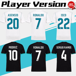 Wholesale 2018 player version Away black Real Madrid Soccer Jersey CR7 soccer shirt Ronaldo Bale Football uniforms Asensio SERGIO RAMOS sales