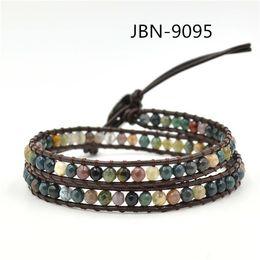 Wholesale India Charms - Wholesale-Charm bracelet 2 Wrap bracelet natural india agate beads Leather handmade men jewelry pulseras JBN-9095