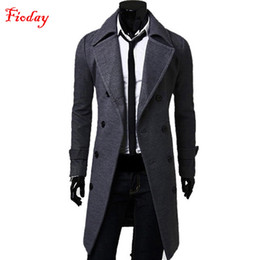 Wholesale Mens Stylish Slim Double - Fioday 2016 Winter Mens Slim Stylish Trench Coat Double Breasted Long Wool Coats & Jackets