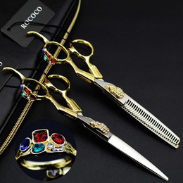 Wholesale Scissors For Hair Cutting - New arrivel Professional hairdressing scissors set hair cutting scissors barber shears thinning for hairdresser