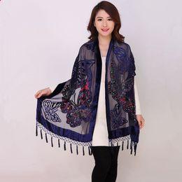 Wholesale Vintage Velvet Scarf - Chinese Women Velvet Silk Beaded Shawls Vintage Handmade Embroidery Scarves Scarf Long Fringe Pashmina Butterfly Cape Stole