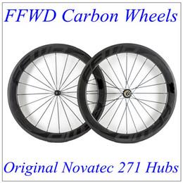 Wholesale Novatec 271 Hub - FFWD 2017 Black Decals Full Carbon Bike Wheels 60mm Depth 23mm With 3K Matt Wheels Carbon Novatec 271 Hubs 20 24 Black Spokes