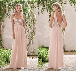 Wholesale Dress Spaghetti Long - 2017 New Rose Gold Bridesmaid Dresses A Line Spaghetti Backless Sequins Chiffon Cheap Long Beach Wedding Guest Dress Maid of Honor Gowns