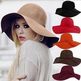 Wholesale Woolen Hats For Women - Autumn winter England woolen hat Womens woolen cloth hat casual wide brim hats fashion Felt Bowler big brim hats for women
