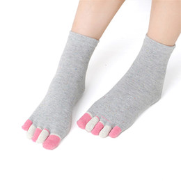 Wholesale Ladies Heels Wholesale - Wholesale-with heel women toe socks ankle high assorted solid color lady five 5 Toe Socks 5 fingers socks one pair feet care #LY