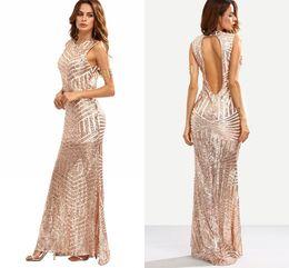 Wholesale Stripes Evening Dress - 2017 Women Mermaid Gold Stripe Sequins Long Formal Prom Evening Dress Cutout Back Jewel Neckline Formal Dresses Evening Sequined Gowns